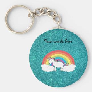 Rainbow unicorn turquoise glitter key ring