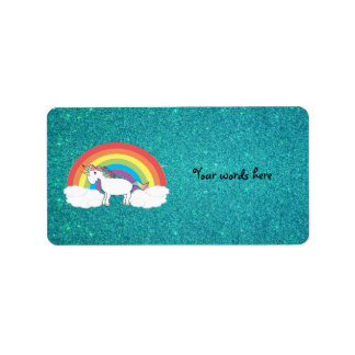 Rainbow unicorn turquoise glitter label