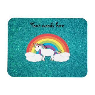 Rainbow unicorn turquoise glitter magnet
