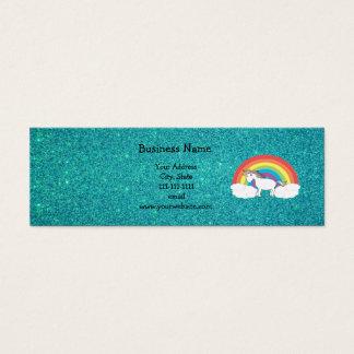 Rainbow unicorn turquoise glitter mini business card