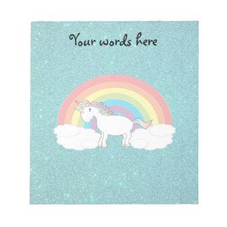Rainbow unicorn turquoise glitter notepad