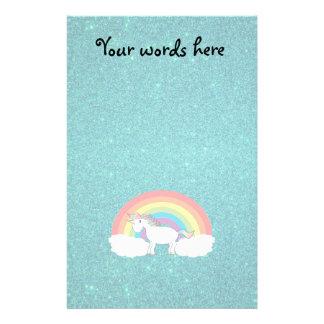 Rainbow unicorn turquoise glitter stationery