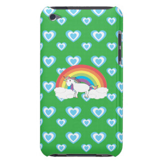 Rainbow unicorn with blue hearts green Case-Mate iPod touch case