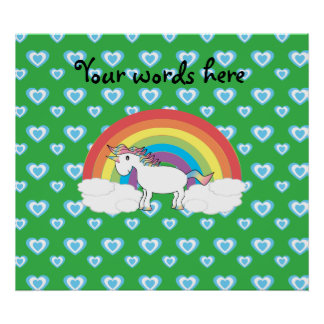 Rainbow unicorn with blue hearts on green posters