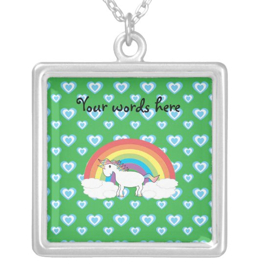 Rainbow unicorn with blue hearts on green silver plated necklace
