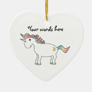 Rainbow unicorn with gold hearts christmas ornament