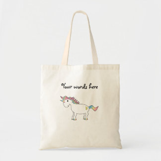 Rainbow unicorn with gold hearts tote bag