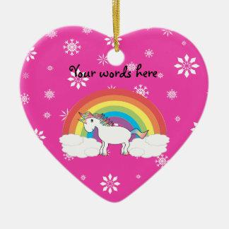 Rainbow unicorn with pink snowflakes christmas ornament