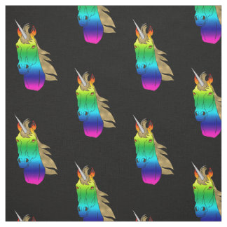 Rainbow Unicorn With Silver Horn And Golden Mane Fabric