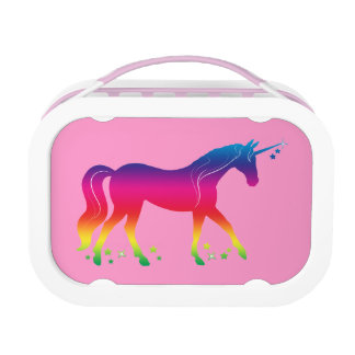 Rainbow Unicorn with Stars in Silhouette Lunch Boxes