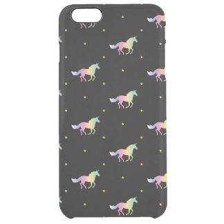 Rainbow Unicorns & Gold Stars Pattern Clear iPhone 6 Plus Case