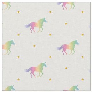 Rainbow Unicorns & Gold Stars Pattern Fabric