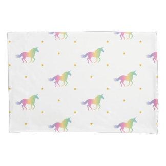 Rainbow Unicorns & Gold Stars Pattern Pillowcase