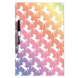 Rainbow Unicorns II Dry Erase Board