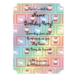 "Rainbow unicorns santa claus pattern 5"" x 7"" invitation card"