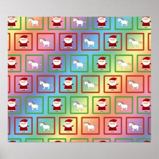 Rainbow unicorns santa claus pattern posters