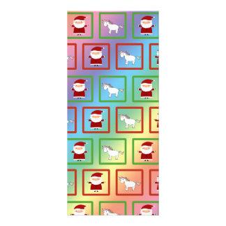 Rainbow unicorns santa claus pattern rack card