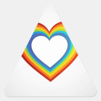 Rainbow valentine heart triangle sticker
