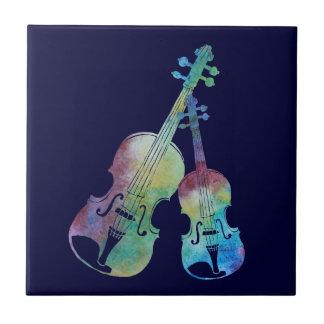 Rainbow Violin and Viola Small Square Tile