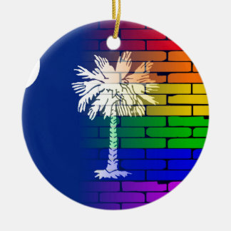 Rainbow Wall South Carolina Round Ceramic Decoration