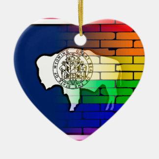 Rainbow Wall Wyoming Ceramic Heart Decoration