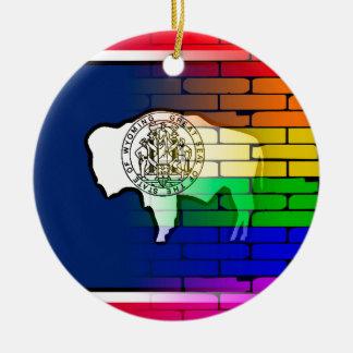 Rainbow Wall Wyoming Round Ceramic Decoration