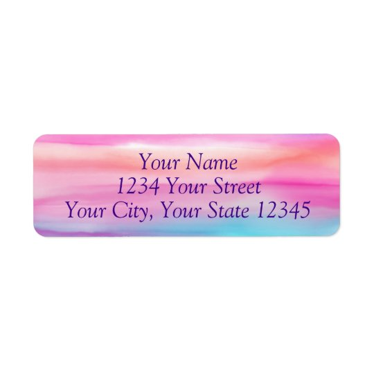 Rainbow Watercolor Address Label