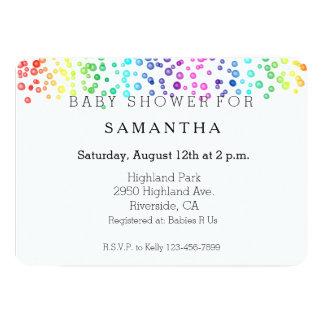 Rainbow Watercolor Confetti baby shower Card