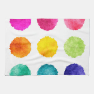Rainbow watercolor dots tea towel