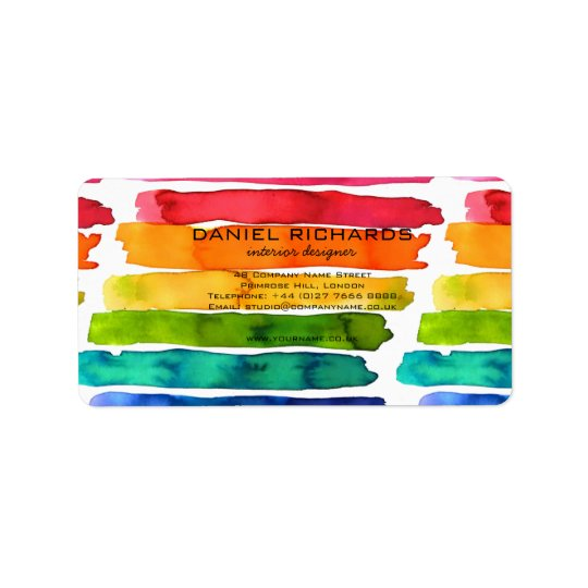 Rainbow watercolor Interior Designer Business Card Label