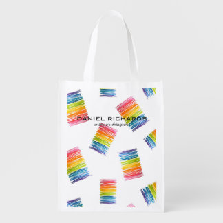Rainbow watercolor Interior Designer Business Card Reusable Grocery Bag