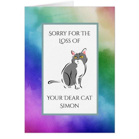 Rainbow Watercolor Loss Of A Cat Sympathy Card