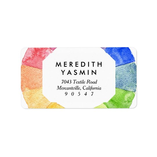 Rainbow watercolor ring modern colourful circle address label