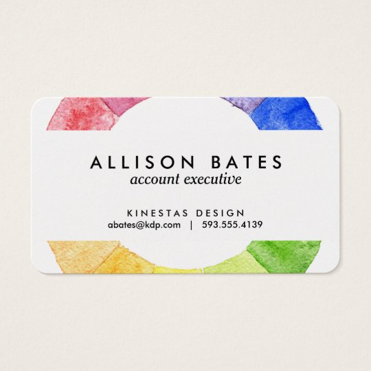 Rainbow watercolor ring modern colourful circle business card