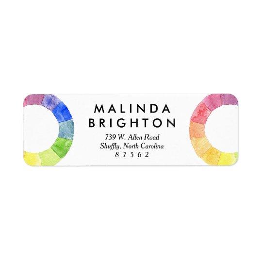 Rainbow watercolor ring modern colourful circle return address label