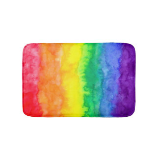 Rainbow Watercolor Wash Bath Mat Bath Mats