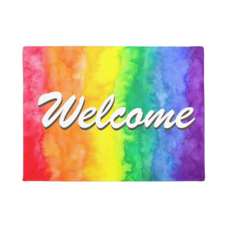Rainbow Watercolor Wash Welcome Mat