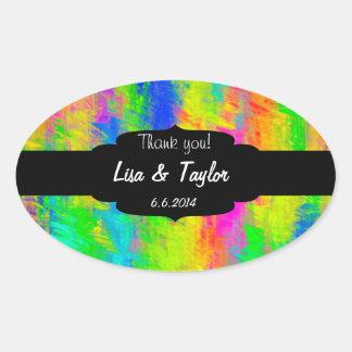 Rainbow watercolors oval sticker