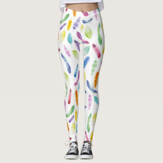 Rainbow watercolour feather leggings