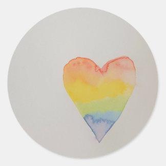 Rainbow Watercolour Heart Stickers