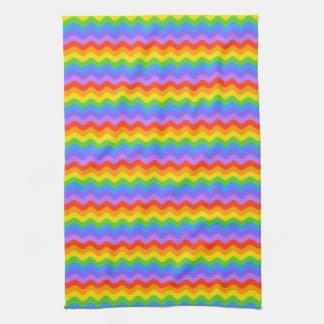 Rainbow Wave Stripes. Tea Towel