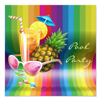 Rainbow Wave Tropical Cocktail Pool Party 13 Cm X 13 Cm Square Invitation Card