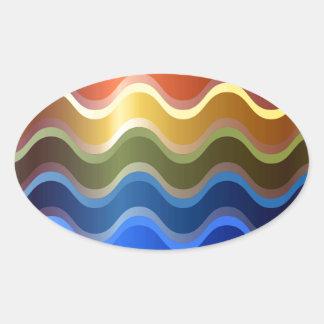 Rainbow Waves Oval Sticker