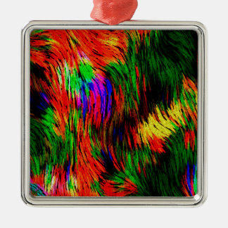 Rainbow Waves. Silver-Colored Square Decoration