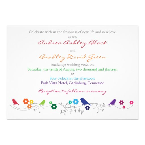 Rainbow Wedding Invitation Birds Flowers