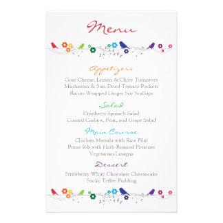 Rainbow Wedding Menu Birds Flowers