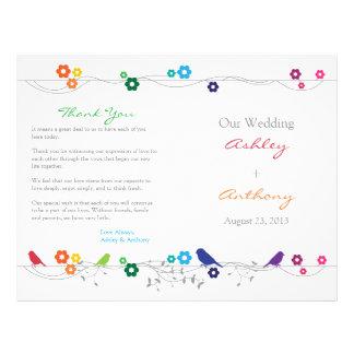 Rainbow Wedding Program Birds Flowers Flyer