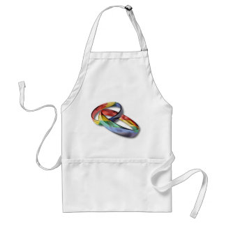 Rainbow Wedding Rings for Marriage Equality Apron