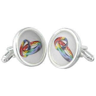 Rainbow Wedding Rings for Marriage Equality Cufflinks