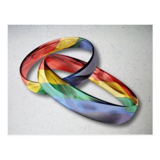 Rainbow Wedding Rings for Marriage Equality Postcard